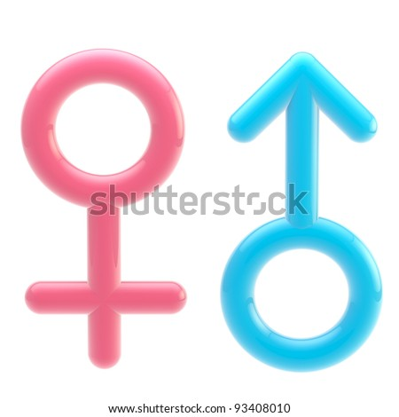Blue male and pink female glossy symbols isolated on white