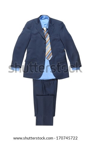 blue male striped suit - stock photo
