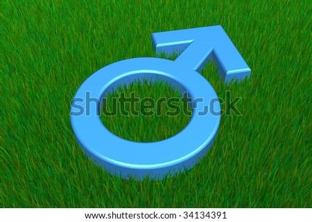 blue male symbol on a grass ground - stock photo