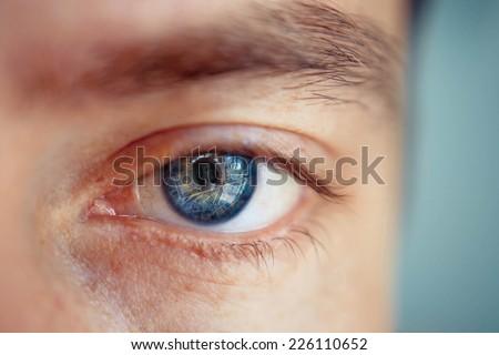 blue man Eye - stock photo
