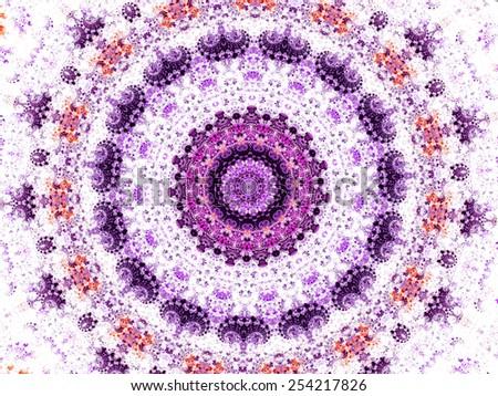 blue mandala fractal ornament design - stock photo
