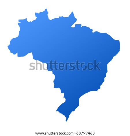 Blue map of Brazil, isolated on white background with clipping path. - stock photo