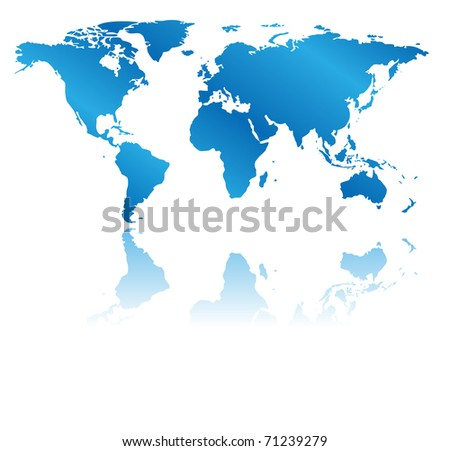 blue map of the world with reflection - stock photo