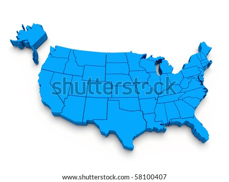 Blue map of USA. 3D render - stock photo
