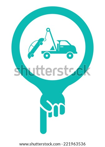 Blue Map Pointer Icon With Tow Car Service Sign Isolated on White Background  - stock photo