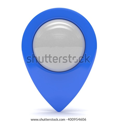 blue map pointer isolated. 3d rendering. - stock photo