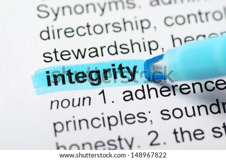 Blue marker on integrity word