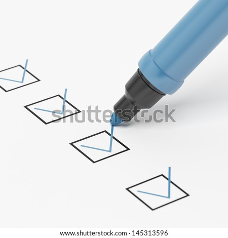 Blue Marker with Checkbox and Check. - stock photo
