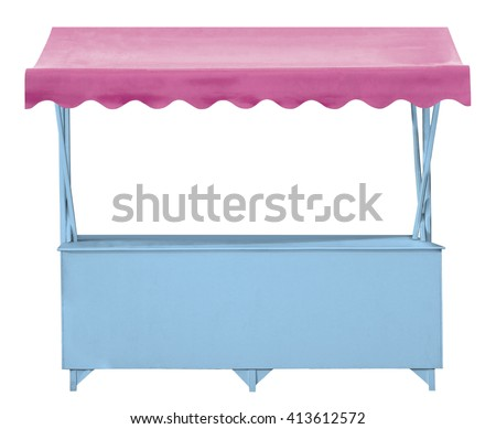 Blue market stall with pink awning - stock photo