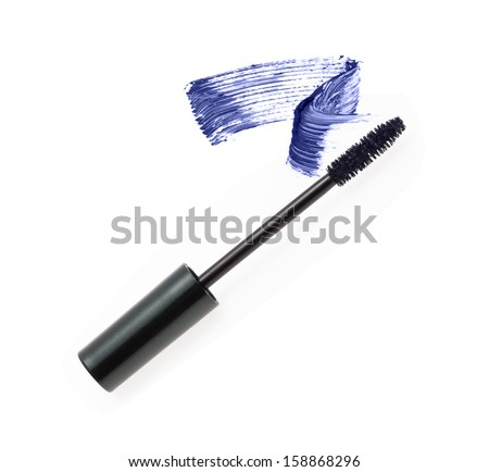 Blue mascara brush strokes isolated on white  - stock photo