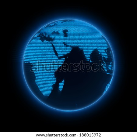 Blue matrix globe, Africa and Saudi Arabia. Elements of this image furnished by NASA. - stock photo