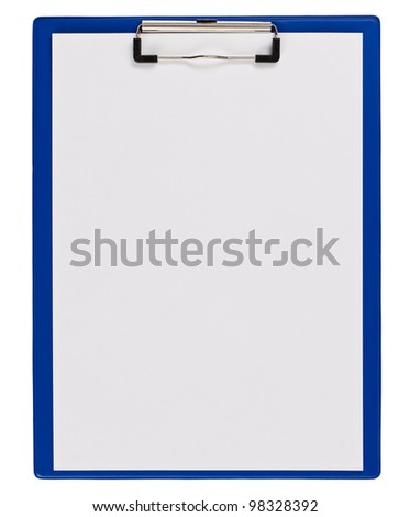 Blue medical clipboard with copy space isolated on white - stock photo