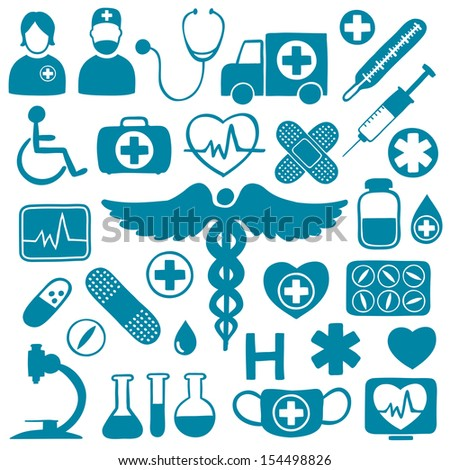Blue medical icons on white with healthcare symbols: tubes, medicines, syringes, ambulance, doctors, microscope, ECG, stethoscope, disabled persons