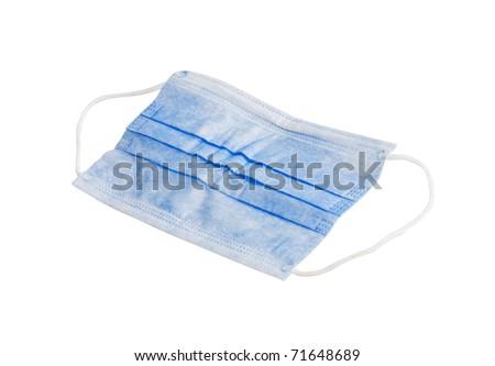 Blue medical mask on white background - stock photo