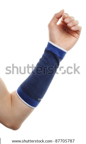 blue medicine bandage on injury arm on white background