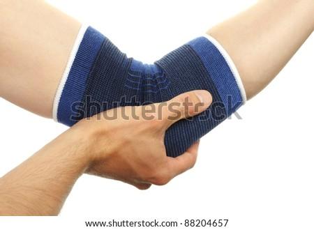 blue medicine bandage on injury elbow on white background - stock photo