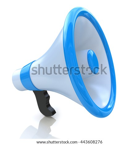 Blue megaphone or loudspeaker in the design of information related to communication. 3d illustration - stock photo