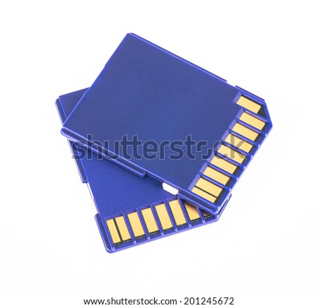 Blue memory SD card isolated on white background - stock photo