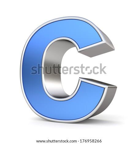 Blue metal alphabet 3D collection - letter C - stock photo