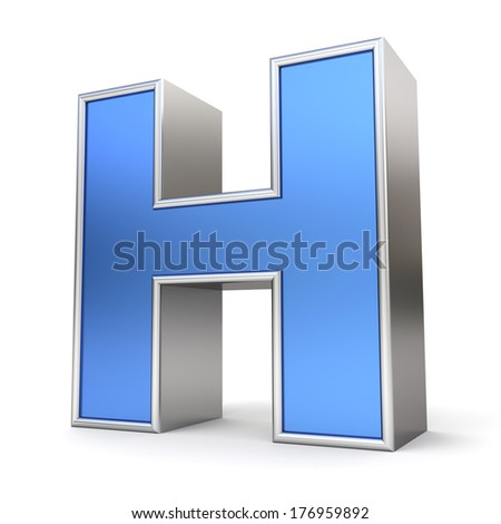 Blue metal alphabet 3D collection - letter H - stock photo