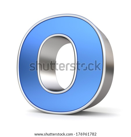 Blue metal alphabet 3D collection - letter O - stock photo