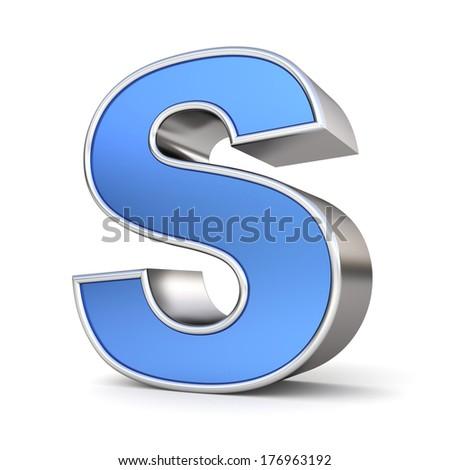Blue metal alphabet 3D collection - letter S - stock photo