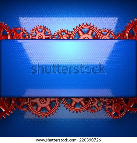 blue metal background with red cogwheel gears - stock photo