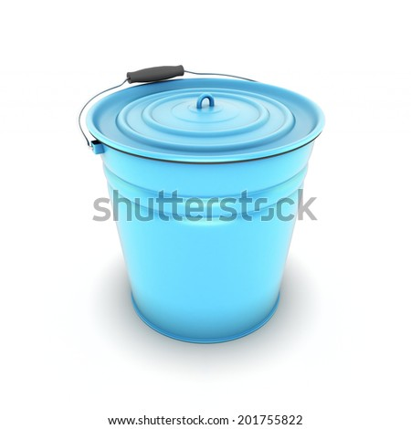 Blue metal bucket isolated on a white background - stock photo
