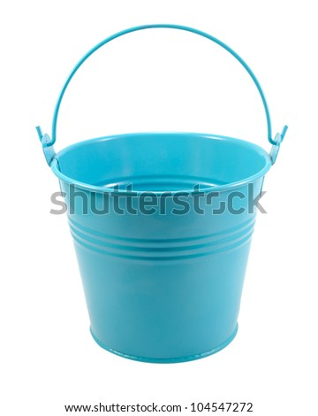 Blue metal bucket with handle isolated on the white - stock photo