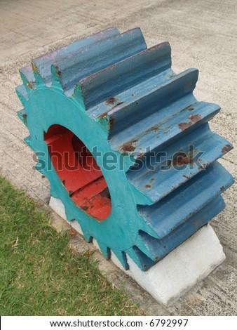 blue metal gear - stock photo