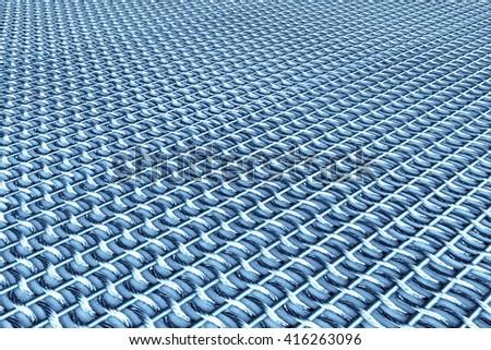 blue metal grid - 3D illustration - stock photo