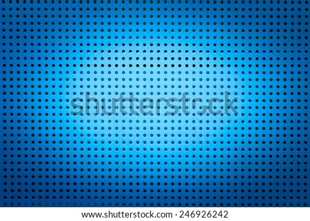 Blue metal hole sheet texture closeup  background - stock photo