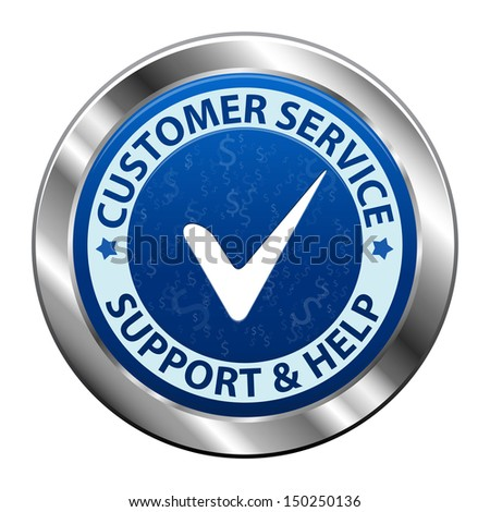 Blue metal label Customer service and support icon or symbol isolated on white background. Vector illustration - stock photo