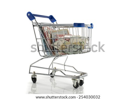blue metal shopping car filled with euro money paper - stock photo