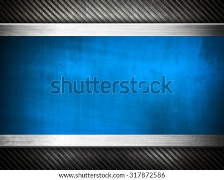 blue metal template - stock photo