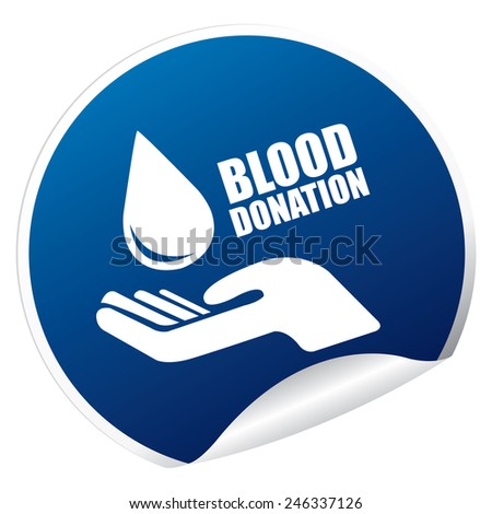 Blue Metallic Blood Donation Sticker, Icon or Label Isolated on White Background  - stock photo