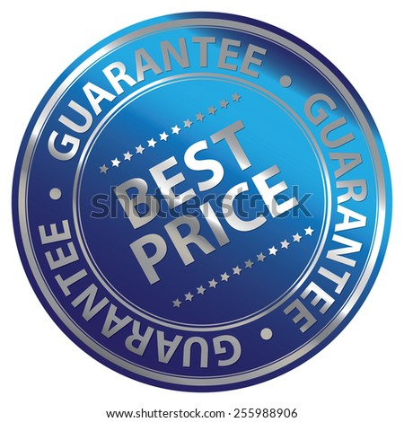 Blue Metallic Circle Best Price Guarantee Icon, Label, Banner, Tag or Sticker Isolated on White Background  - stock photo