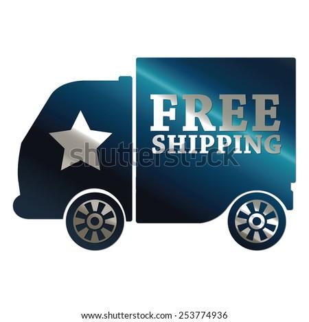 blue metallic free shipping sticker, sign, badge, icon, label isolated on white - stock photo