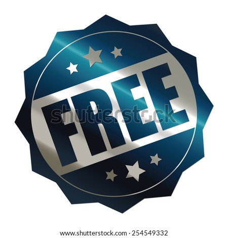 blue metallic free sticker, banner, sign, icon, label isolated on white - stock photo