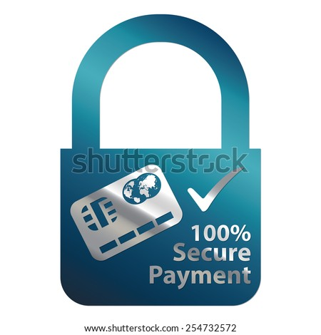 Blue Metallic Key Lock Shape 100% Secure Payment Icon, Label, Sign or Sticker Isolated on White Background  - stock photo