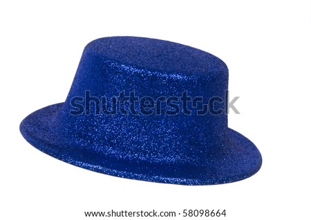 Blue metallic party hat on white background - stock photo