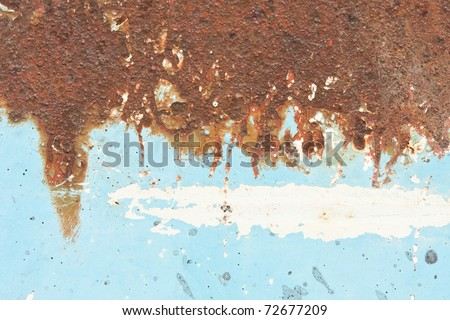 blue metallic rust half - stock photo