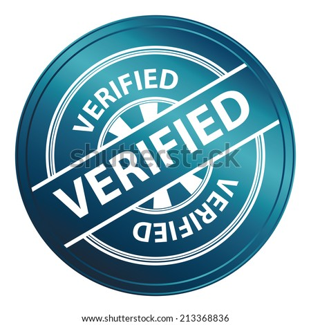 Blue Metallic Style Verified Icon, Badge, Label or Sticker for Quality Management Systems, Quality Assurance and Quality Control Concept Isolated on White Background - stock photo
