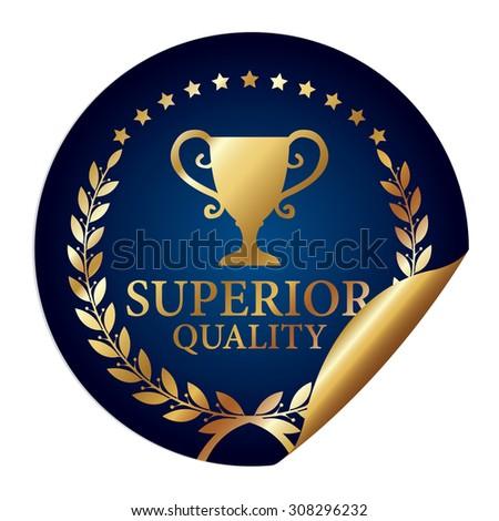 Blue Metallic Superior Quality Infographics Peeling Sticker, Icon, Badge, Sign or Label Isolated on White Background  - stock photo