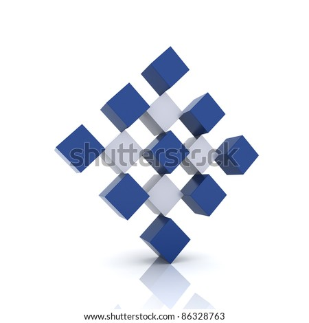 Blue metallic symbol rhomb from different metallic cubes - stock photo