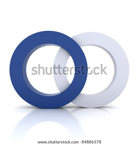 Blue metallic symbol with two circles (concept of union) - stock photo
