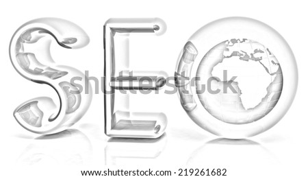 Blue metallic text 'SEO' with earth globe, symbol. 3d illustration on a white background. Pencil drawing  - stock photo