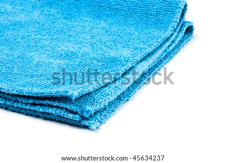blue microfiber duster closeup isolated on white - stock photo