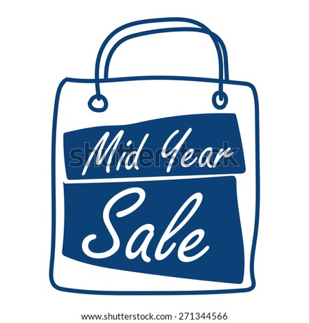 Blue Mid Year Sale Shopping Bag Label, Banner, Sign or Icon Isolated on White Background - stock photo