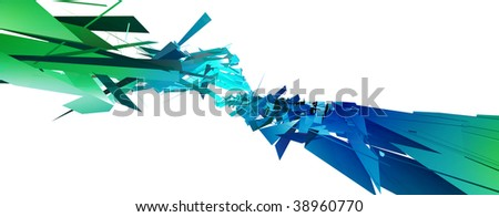 blue mixed faces isolated on white - stock photo